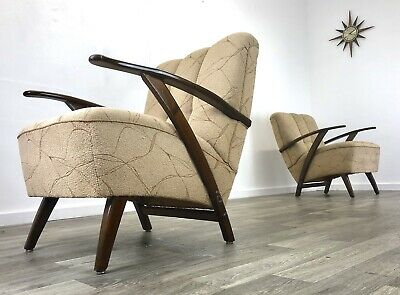 A Pair Of East German Easy chairs Vintage mid century Armchairs Retro Project
