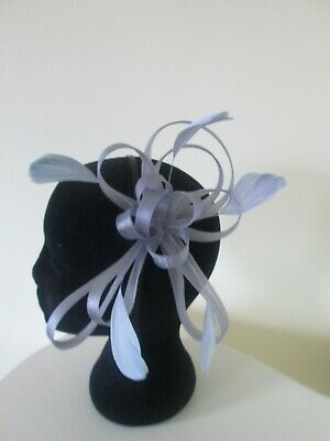 Silver/grey feather and loop sinamay fascinator weddings races special events