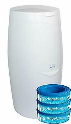 Angelcare Nappy Disposal System Bin Complete With 3 Refill Cassettes Odour Seal