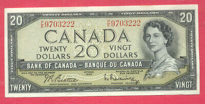 1954 BANK OF CANADA $20 TWENTY DOLLAR - BILL NOTE -Beattie Rasminsky P/E 9703222