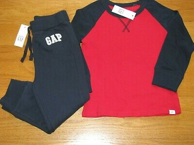 NWT Baby Gap Boy's L/S Logo T-Shirt/Navy Jogger Sweat Pants Outfit Size 4T/4Yrs