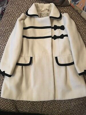 Next Girls Cream Black Smart Coat Jacket Age 2-3 Winter Autumn Occasion Party