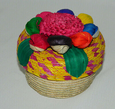 "Mexican Folk Art Corn Husk Flower Lid Weaved Basket 4"" H"