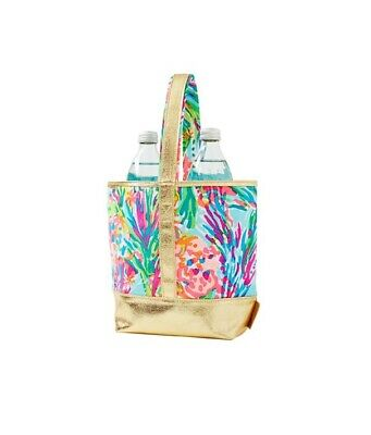 Lilly Pulitzer Fan Sea Pants Floral Small Tote Wine Bottle Bag Pink Blue Gold