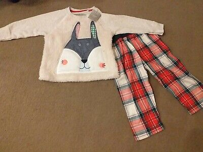 BNWT NEXT unisex rabbit fluffy pyjama 2 piece set 12-18 months