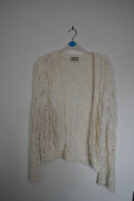 Cherokee Tesco White Cream Chunky Knit Cardigan UK 16 (Shrunk to 12/14)