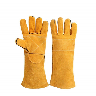 Welders Gauntlet Heat Resistant Gloves Cotton Lined with Kevlar Stitching Wood