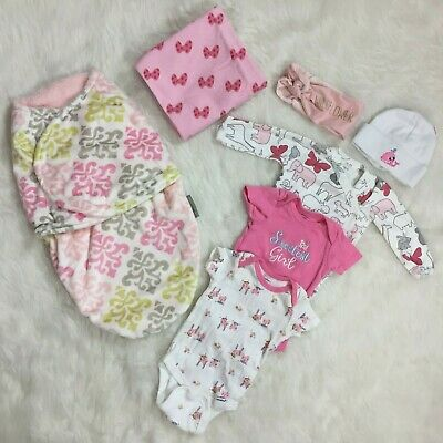 Baby Girl Newborn 0-3M Clothing Swaddle Blanket Headband Hat Plush Bundle Lot