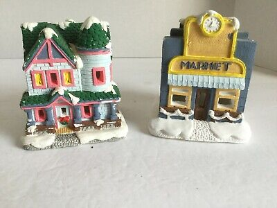 Ceramic Christmas village Lighted houses Lot Of 2 Market And House