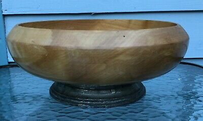 John Hasselbring New York Vintage Wood And Sterling Silver Bowl Pedestal