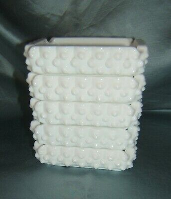 Lot of 5 Fenton White Milk Glass Hobnail Stacking Ashtrays / Trinket Dishes