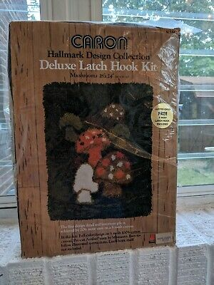 Vintage 1971 Hallmark Cards Caron Deluxe Latch Hook Rug Kit Mushrooms