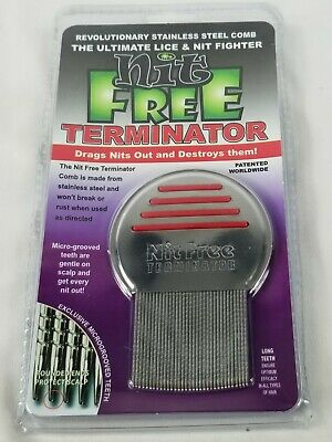 #1 real Nit Free Brand Terminator Comb Rid Head Lice Stainless Steel Red Comb