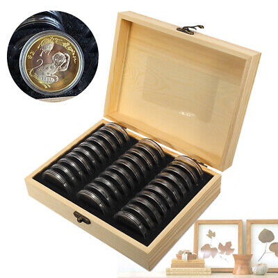 UK Wooden Coins Display Storage Box Case + 30x 51.5mm Slab Certified Capsules