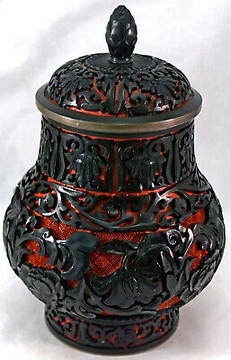 Chinese Black over Red Carved CINNABAR Lacquer Tea Caddy / Jar Urn Brass Trim