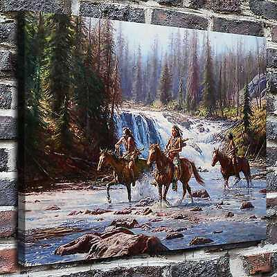 "Native American indians Painting HD Print on Canvas Home Decor Wall Art 16""x22"""