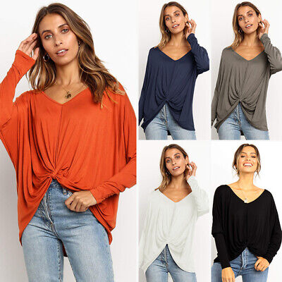 Womens Sweatshirt Loose Baggy Long Sleeve Ladies Twisted Blouse Pullover Tee Top