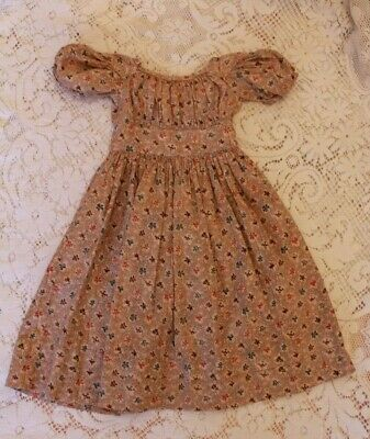 Antique Child's Dress Pre Civil War Era or Large Doll Dress Early to Mid 1800s