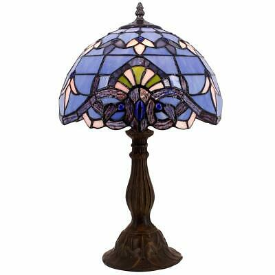 """Blue Purple Baroque Tiffany Style Table Lamps Lighting W12H18"""" Lavender Stained"""