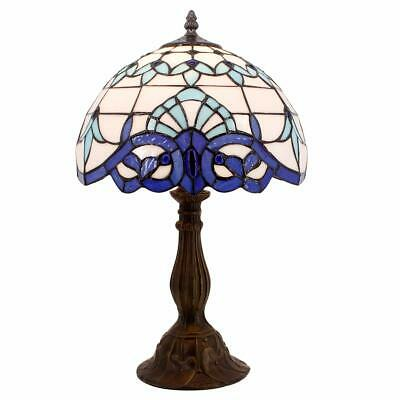 Tiffany Lamp White Blue Baroque Stained Glass Lampshade Antique Style Base Table