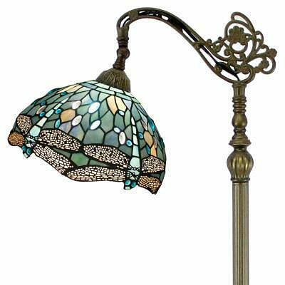 Tiffany Style Reading Floor Lamp Sea Blue Stained Glass w Crystal Bead Dragonfly