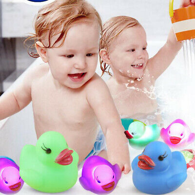 Baby Bath Time Tub Toy Flashing Rubber Duck LED Coloured Light Up Watertights