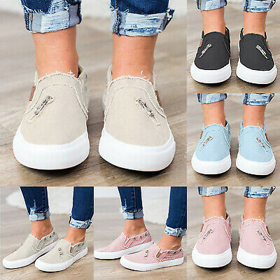 Womens Round Toe Cavans Loafers Casual Flats Shoes Slip On Sneakers Trainers