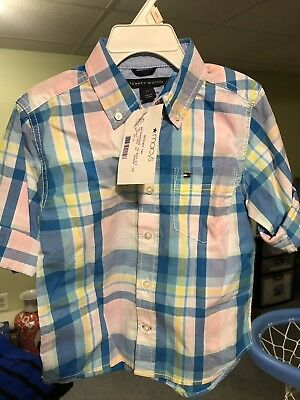 Tommy Hilfiger Toddler Boys Short Long Sleeve Button Down Shirt - Size : 2 / 2T