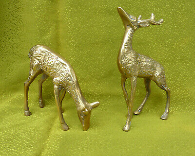 Vtg Pair of Brass Deer & Stag Figurines + 2 Candle Holders Christmas Décor Colle