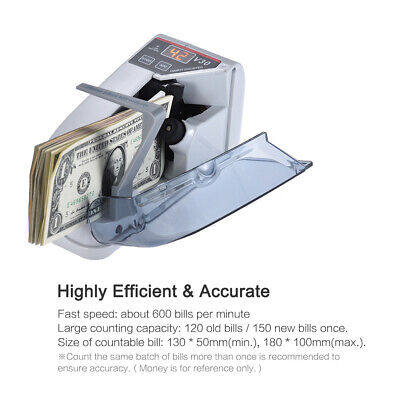 600pc/Min Bill Cash Banknote Counter Money Currency Counting AC Machine With Bag