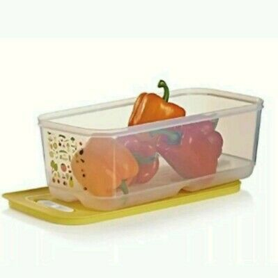 Tupperware Fridge Smart Large Produce Container 1.5 Gallon Long Yellow  NEW