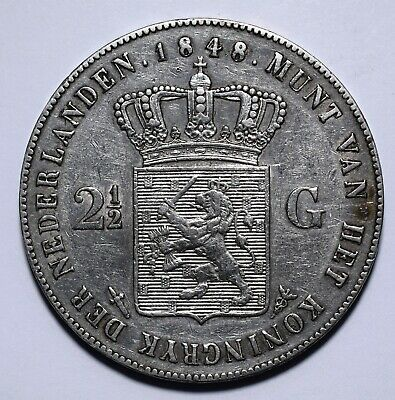 1848 Netherlands Two and Half 2 1/2 Gulden - Willem II - Lot 522