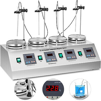 4 Units Head Magnetic Stirrer Hotplate Mixer Multi Unit RT-100℃ Powerful