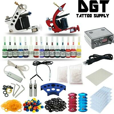 Complete Tattoo Kit 2 Coil Machine Guns Set Power Supply 15 Color Inks tk23