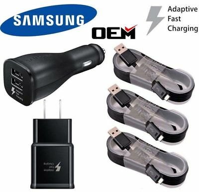 OEM Samsung Galaxy Note 4 5 S6 S7 Fast Charging Dual USB Car& Wall Charger Cable