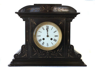 Antique Japy Freres & Cie French Marble 8 Day Bell Strike Mantle Clock