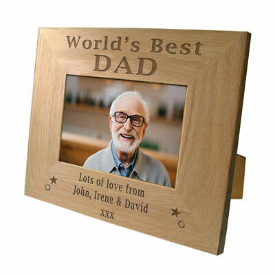 Engraved Worlds Best Dad Oak Photo Frame Personalised Birthday Present Gift Idea