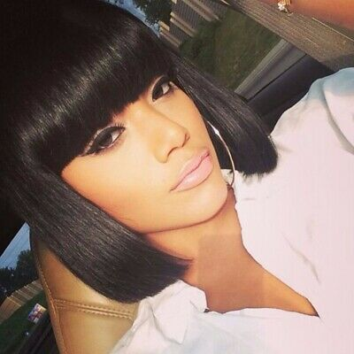Femmes Black Style Bob Perruques Droites Cosplay Naturel Cheveux Courts C3