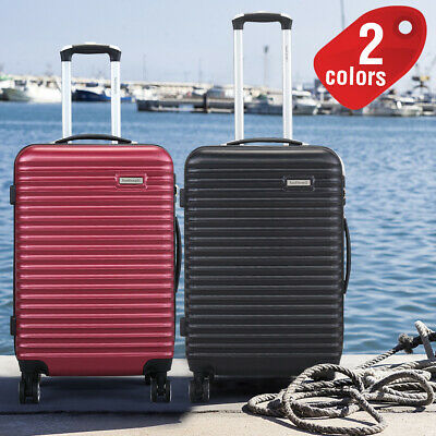 3Pcs Luggage Travel Set Bag ABS Trolley Spinner Carry on Suitcase Black&Wine red