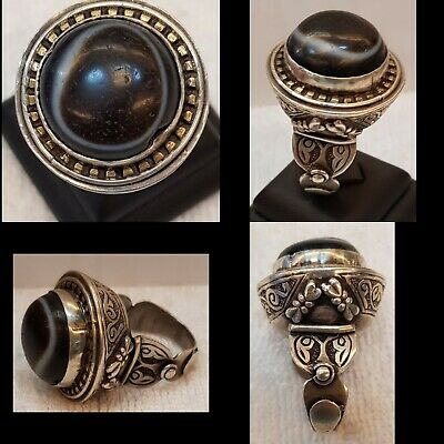 Amizing Old Silver Afghan Ring With Ancient Old Evil Eyes Protection Agate Stone