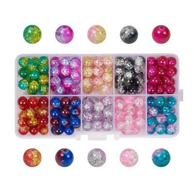 1 Box Round Transparent Crackle Glass Bead Mixed Color Jewelry Loose Spacer Bead