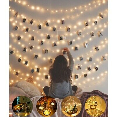 5M 50 LED Battery Micro Rice Wire Copper Fairy String Lights Party Warm White CA