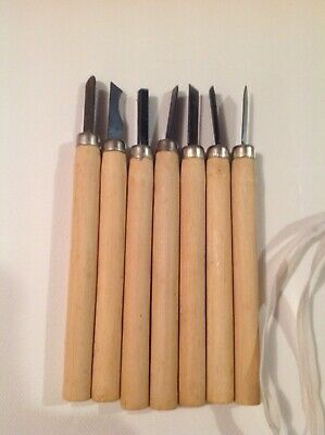 Leather/Lino Cutting Tools x7 Wooden Handles VGC