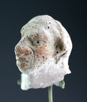 *SC* RARE EGYPTIAN POTTERY HEAD OF A NUBIAN, LATE 1st. mill. BC!!