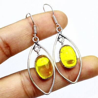 Yellow Chalcedony Fashion Jewelry .925 Silver Plated Earrings  A00605