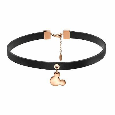 Disney Official Mickey Mouse Black Leather Signature Choker Rose Gold Nacklace