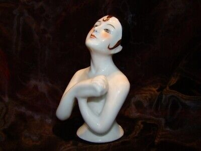 Half doll Figurine Pierrot Half Doll Pincushion Arms Away Art Deco Style Art Nou