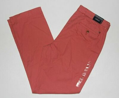 New Tommy Hilfiger Men's 34x32 Sunset Red Custom Fit Chino Pants