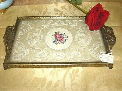 Antique French Ormolu hand tatted lace footed Vanity Tray Glass Art Nouveau Deco