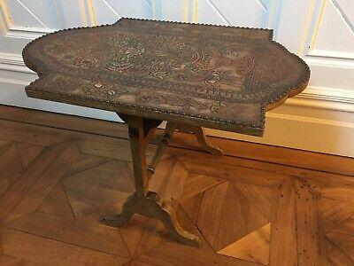Folding table / firescreen / card table / leather covered / Davrard / antique